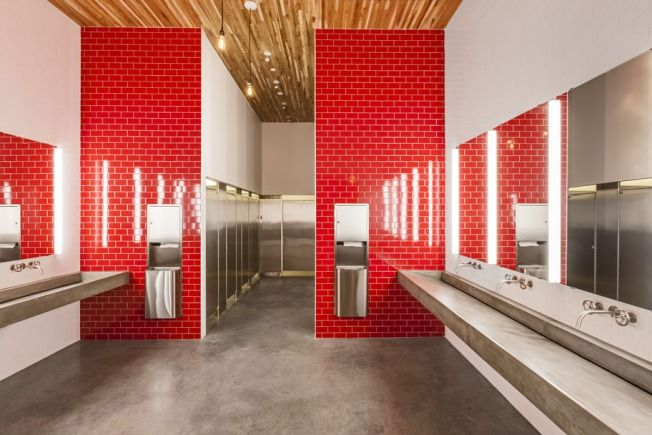 Gray, Concrete Look Flooring | Target Plaza Commons Locker Room | Minneapolis, MN