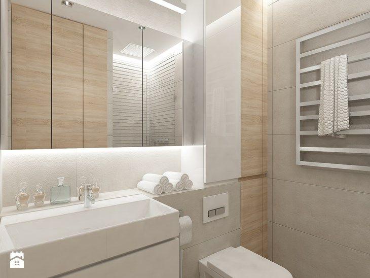 Projekt mieszkania w Pruszkowie - pow. 52,5 m2. - Łazienka, styl nowoczesny - zdjęcie od 4ma projekt
