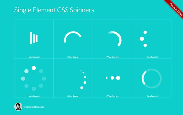 Includes source code -- A collection of loading spinners animated with CSS.