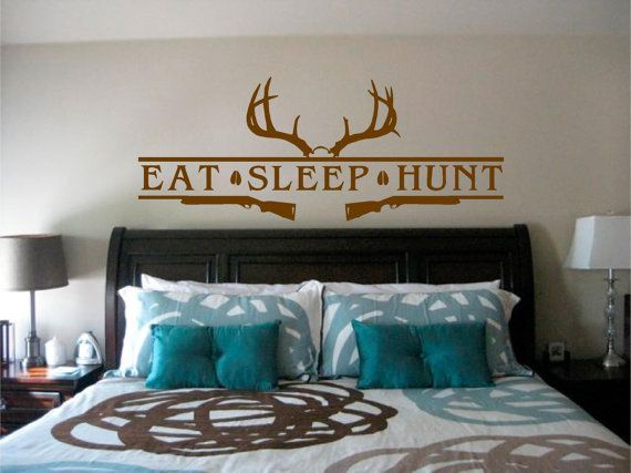 $17.00 There isn't much more to life than these three things! Eat, Sleep, Hunt ... Repeat! This decal features a very nice rack and the top of a skull. Under that you will see the main things in any hunter's life, Eat Sleep Hunt, separated by nice big Buck hoof prints. To round out the design you'll also see two shotguns ready to do the deed.  The larger one is great for your hunting themed room and will be the focus of the room .  https://www.etsy.com/shop/StickitStickers