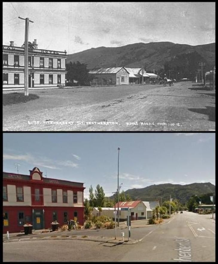Fitzherbert Street, FEATHERSTON 1912 + 2015 - looking south towards the Rimutaka Hills - Old Wellington Region 1 July 2016