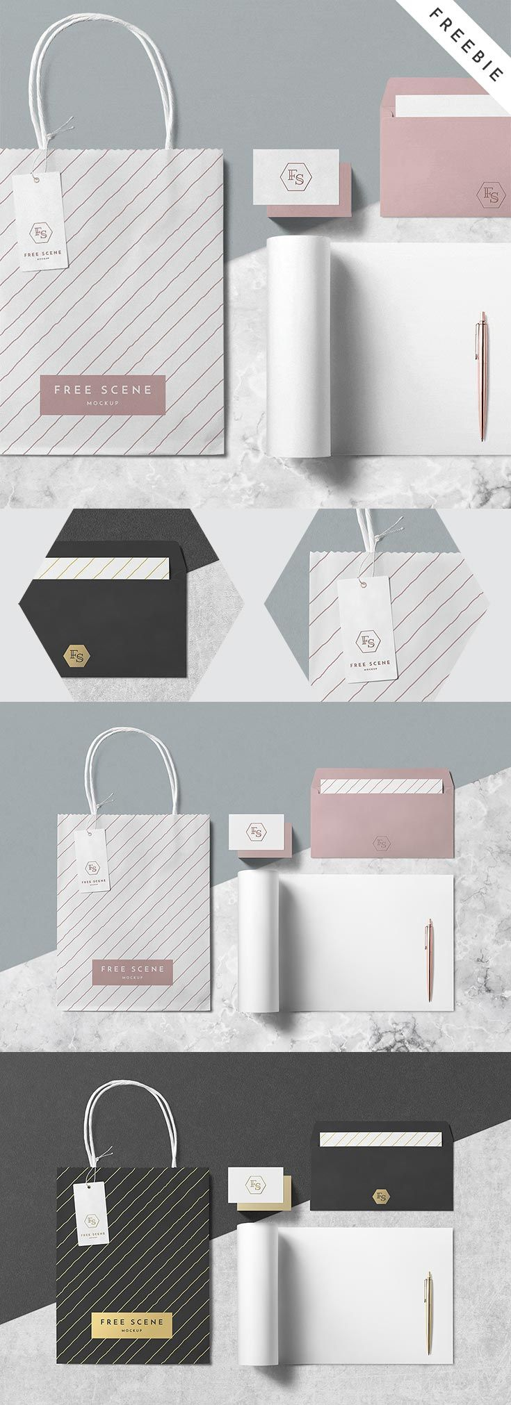 Free PSD Stationery Scene Mockup set contains business card, bag, tag, pen, sketchbook, and envelope. All neatly coming in 1 PSD file. via @creativetacos