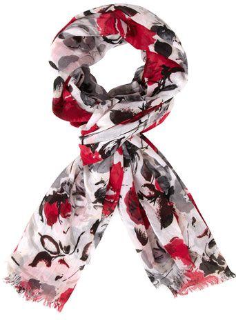 Pink sketchy floral scarf