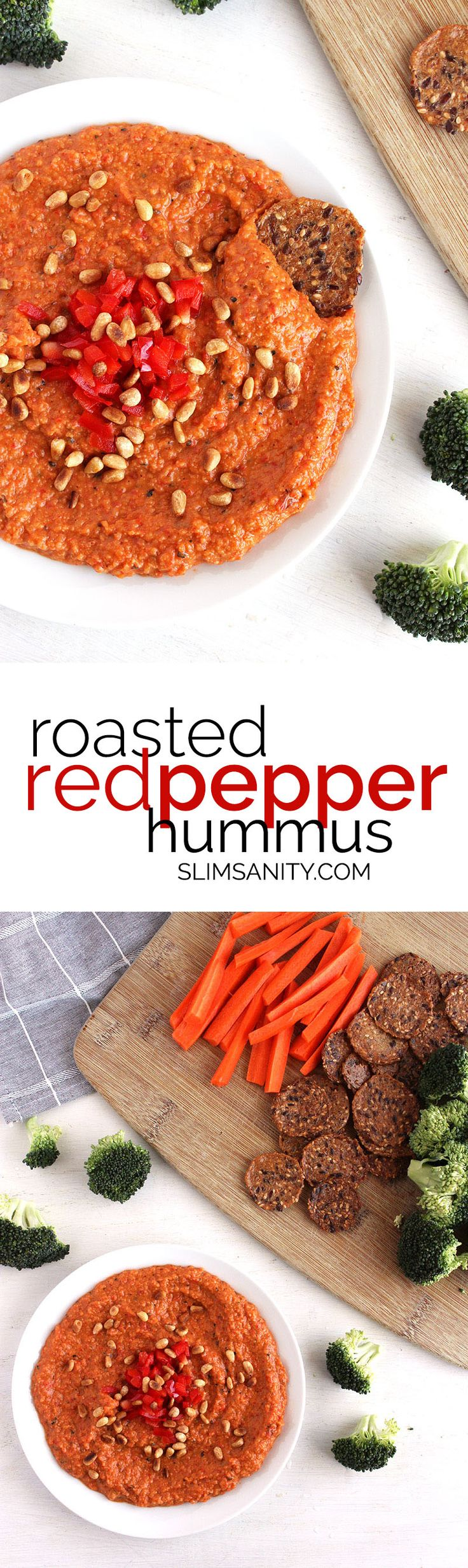 Roasted red pepper hummus - a healthy dip to pair with crackers and veggies! | slimsanity.com