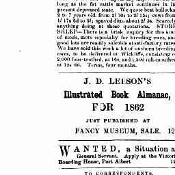 Advertisement for a general servant at Victoria Boarding House, Port Albert. Gippsland Guardian, 29 Nov 1861, p. 2, 'Advertising'.