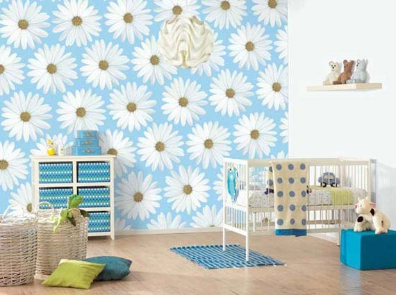 adorableKids Bedrooms, White Flower, Room Wall, Bedrooms Design, Kids Room, Wall Painting, Baby Room, Baby Bedrooms, Bedrooms Wall