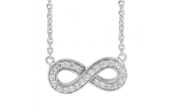 Sterling silver and CZ infinity symbol necklace, on a silver chain.