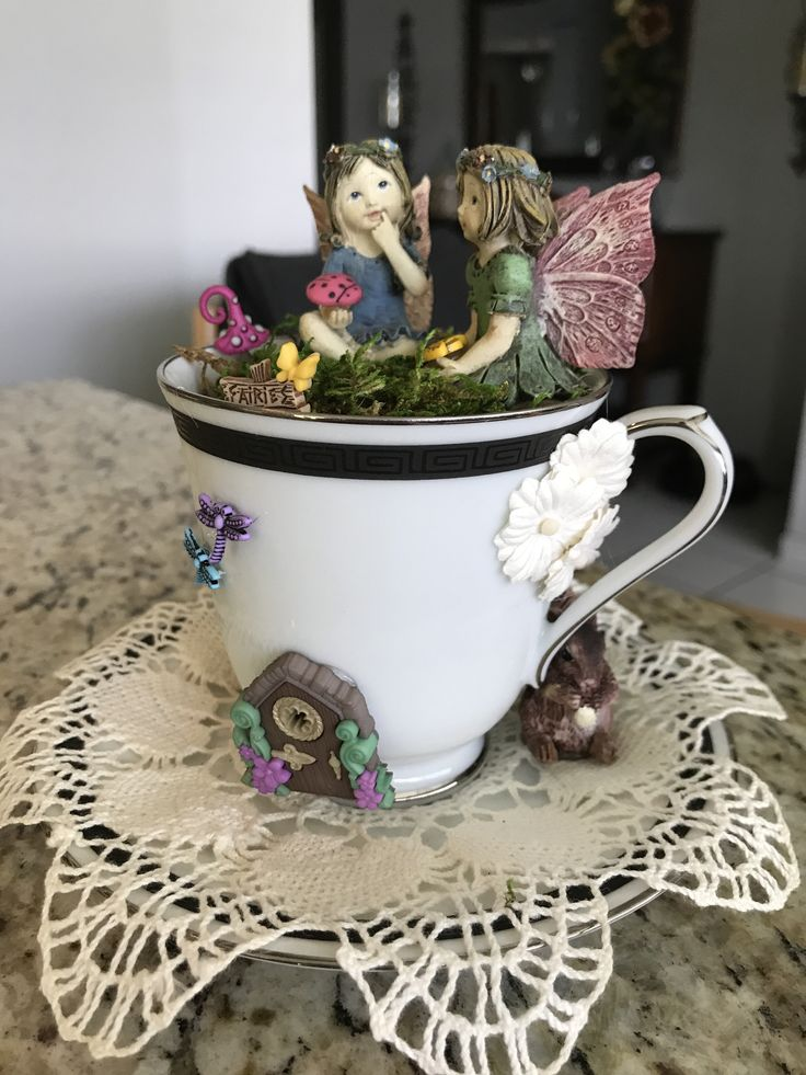 friends (With images) Fairy garden, Fairy houses, Tea cups