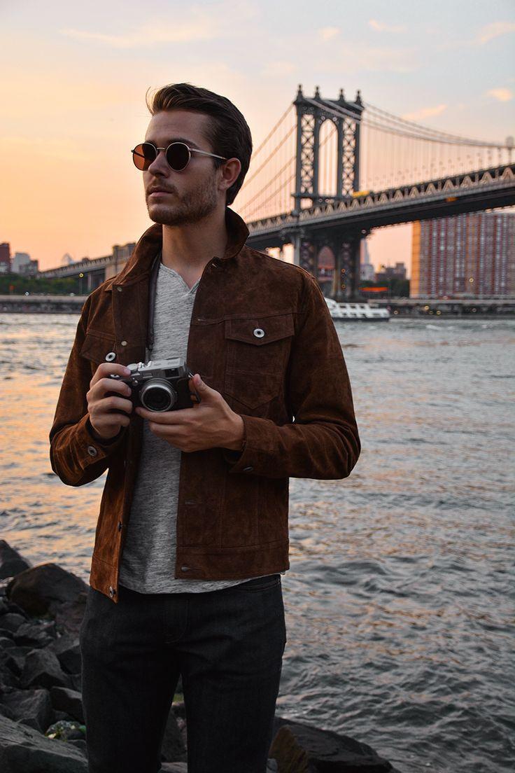 that jacket // menswear, mens style, fashion, denim, brown, sunglasses, street style, nyc, brooklyn, new york, hair cut, hair style, haircut
