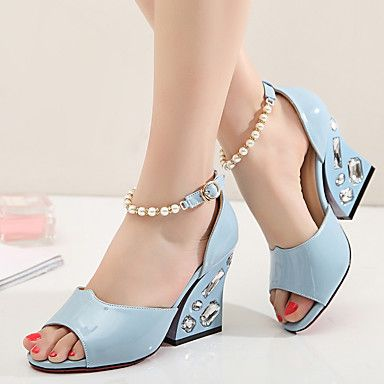 Women's Sandals Spring Fall PU Outdoor Chunky Heel Imitation Pearl Blue Pink Walking 5292159 2017 – $35.99