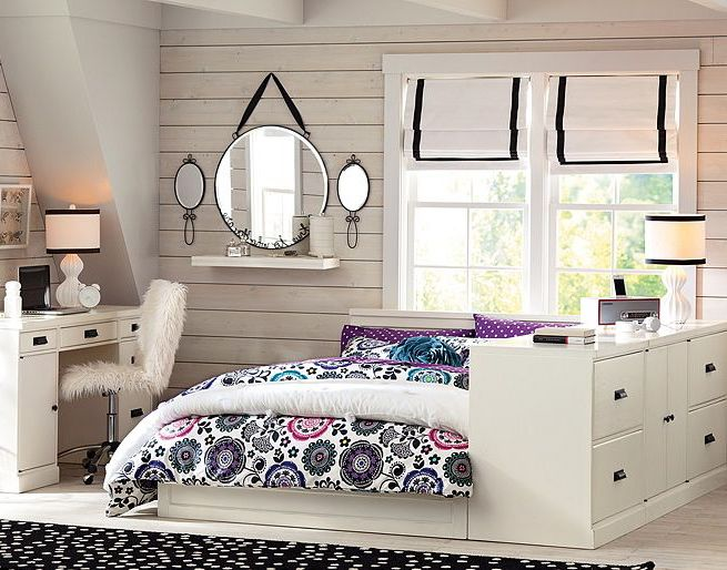 Girl Bedroom. Mesmerizing Endearing Girls Rooms Delightful Bedroom Design Ideas For Teenage Girl : Enchanting Unique Room Teenage Girls Bedroom Design With White Wooden Wall Elegant Round Mirror And Flower Quilt Pattern Featuring Small Workspace Ideas ~ wegli