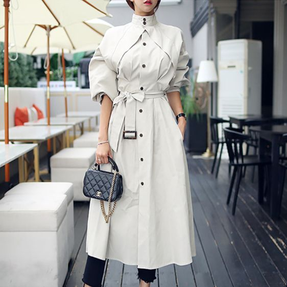 Buy online 2019 TRENCH COAT LIGHT GRAY Harajuku high quality fashion clothing st…
