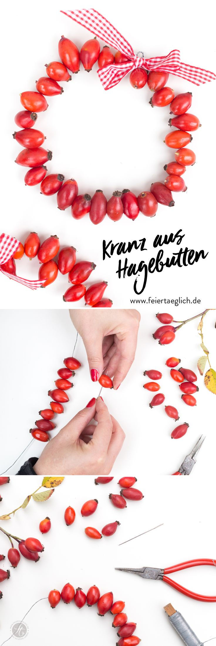 Kleine Kränze aus Hagebutten – hübsche Herbstdeko einfach selbst gemacht, DIY, Herbst, Deko