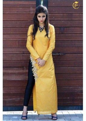 Bollywood Inspired- Designer Yellow Fancy Kurti - Apple Kurti