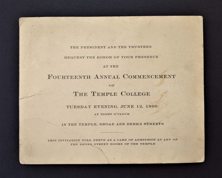1900 antique TEMPLE COLLEGE university 14th COMMENCEMENT INVITE pa broad berks