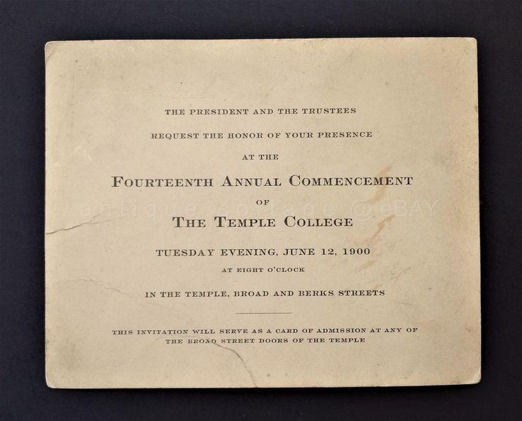 1900 antique TEMPLE COLLEGE university 14th COMMENCEMENT INVITE pa broad berks