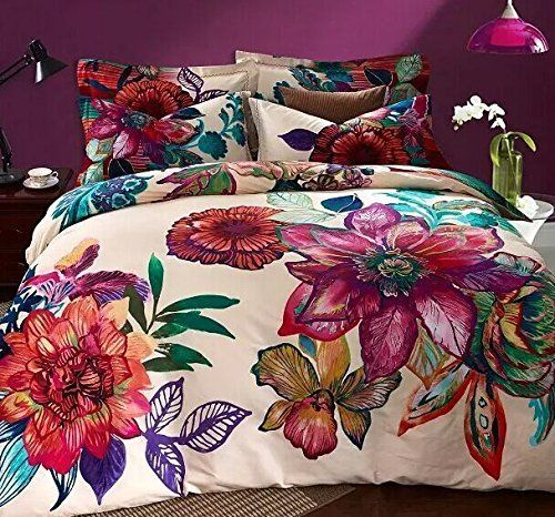 LELVA Bohemia Exotic Bedding Set Bohemian Duvet Covers Boho Bedding Set Queen Size Summer Style Sabanas Sheet 4 Pieces (3, Queen)