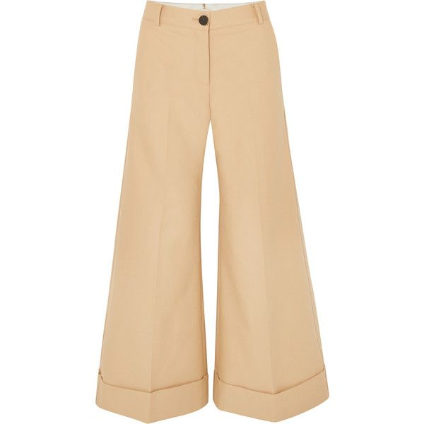 Khaite Carine cotton-twill wide-leg pants found on Polyvore featuring pants, beige, fold over pants, structure pants, fold pants, cuff pants and cotton twill pants