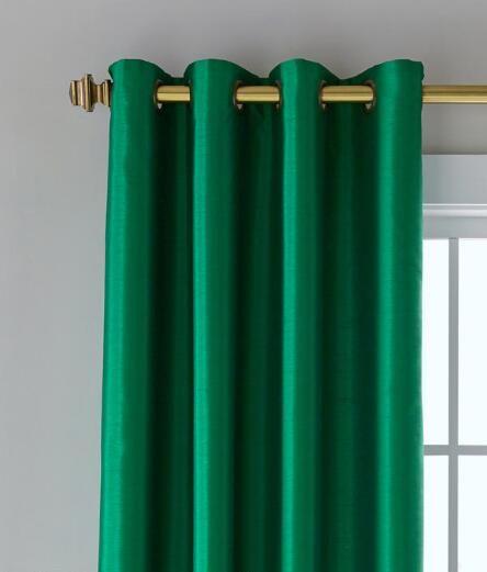 Jasper Faux Silk Lined Grommet Curtains - Emerald Green   Prospect + Vine
