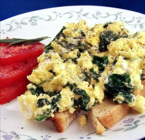 Scrambled Egg With Spinach and Feta on Toast from Food.com: Picked this recipe up in a health magazine. It's a high protein snack to get you through the day.