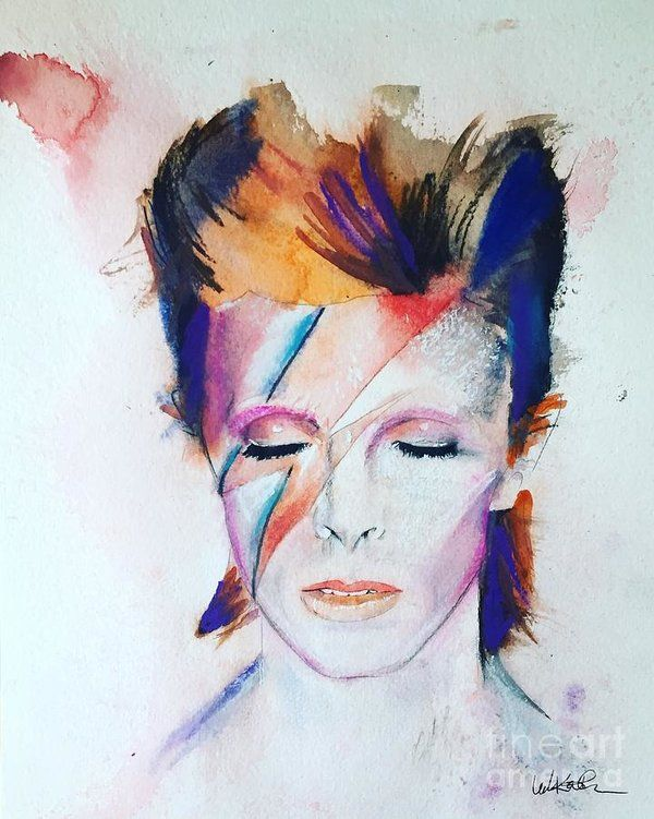 David Bowie Watercolor Print David Bowie Fan Art David Bowie Art