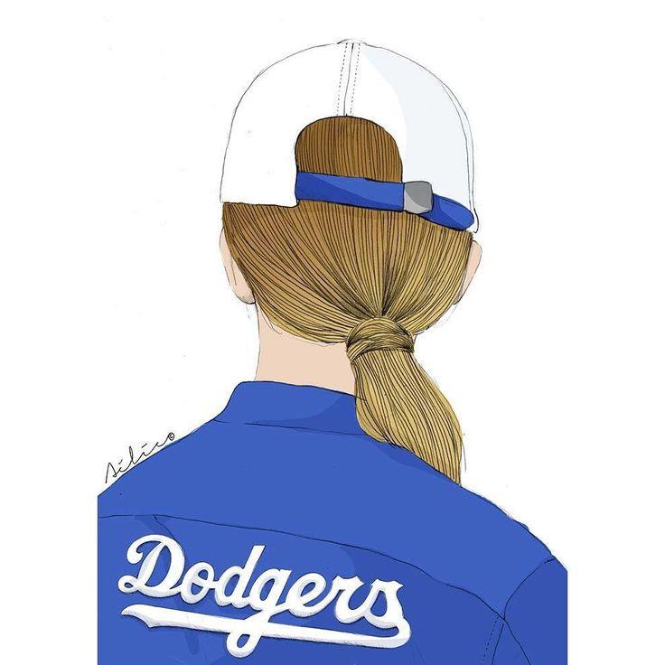 """92 mentions J'aime, 1 commentaires - Aélie (@aelieillustration) sur Instagram: """"Dodgers. ⚾️ #fashionillustration #illustration #levis #liveinlevis #dodgers #baseball #girl"""""""