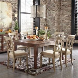 Ashley Mestler Distressed Ivory 7 Piece Dining Set Rustic TablesDining Room