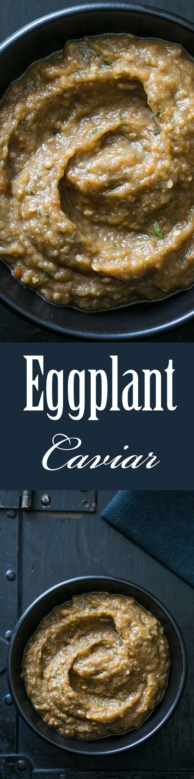 Eggplant Caviar ~ Creamy roasted eggplant dip with roasted bell pepper, garlic, basil, balsamic, and olive oil. Great dip for parties! ~ SimplyRecipes.com