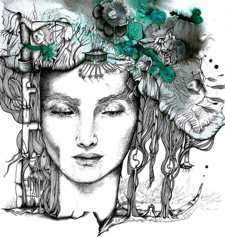 Melanargia Galathea by ninette eponyme illustrations // inks on paper // 2014