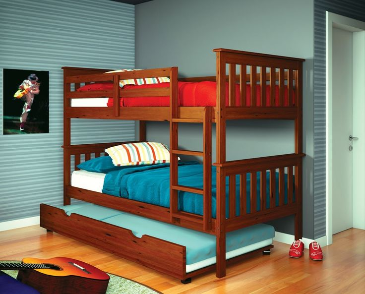 Get the most out of your space with our classic mission twin over twin bunk beds for kids with a fixed ladder. Our bunk beds feature solid pinewood construction in an attractive light espresso finish.
