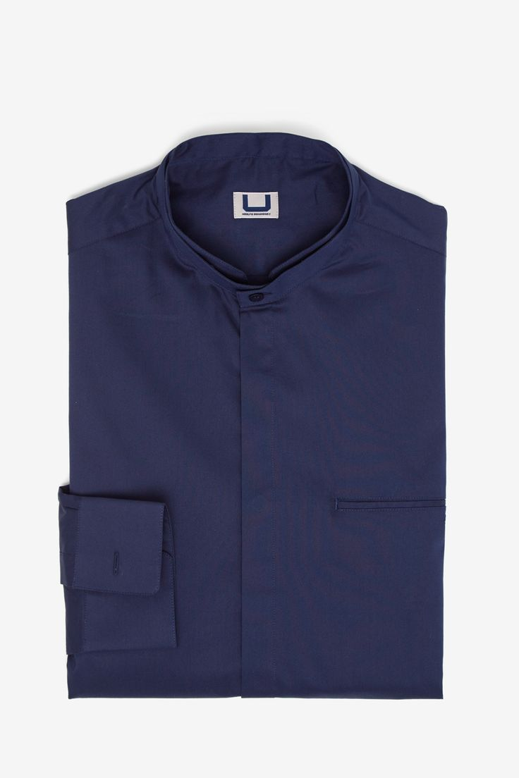 Camisa de popelín con cuello mao - camisas | Adolfo Dominguez shop online
