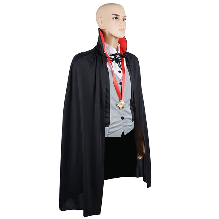 Men Vampire Costume Cloak Cape Scary Party Carnival Halloween Costume Adult Transylvania Midnight Count Dracula Gothic Cosplay #Affiliate