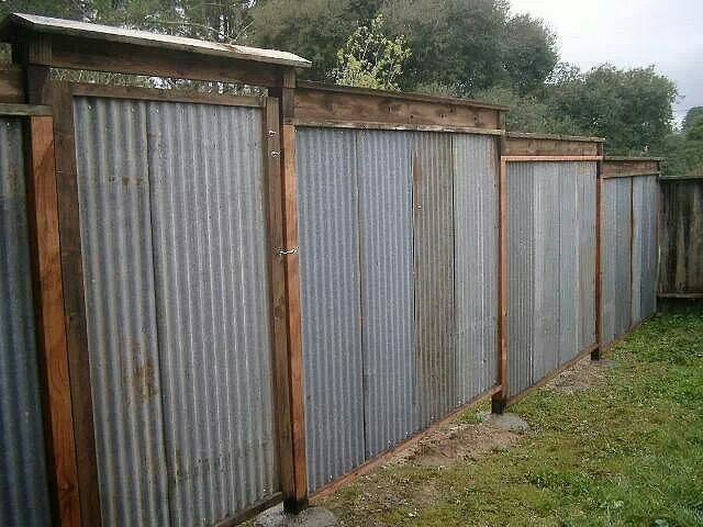 Corrugated Galvanized Metal Fence And Gate Fences In 2018 Pinterest