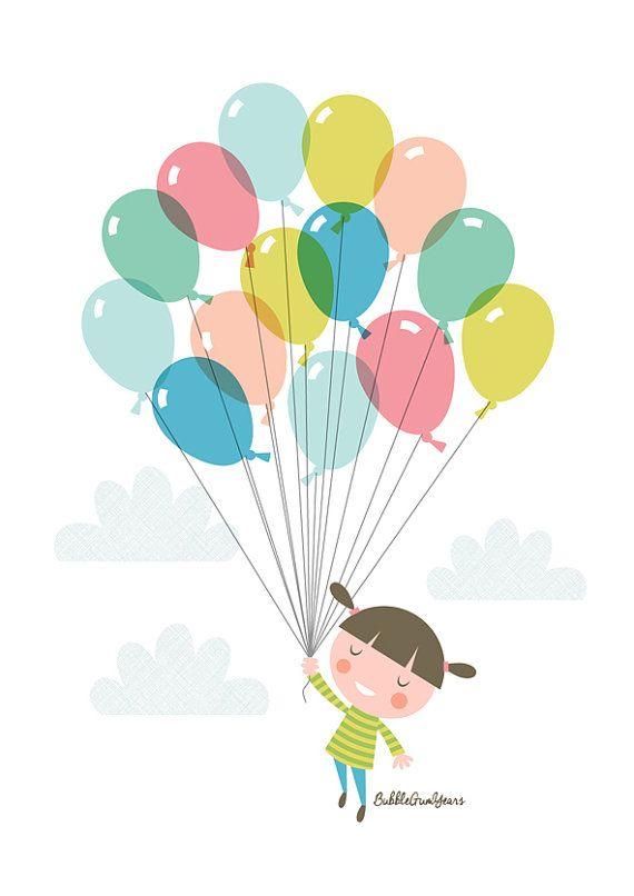 Nursery art girl baby girls balloon print by BubbleGumYears