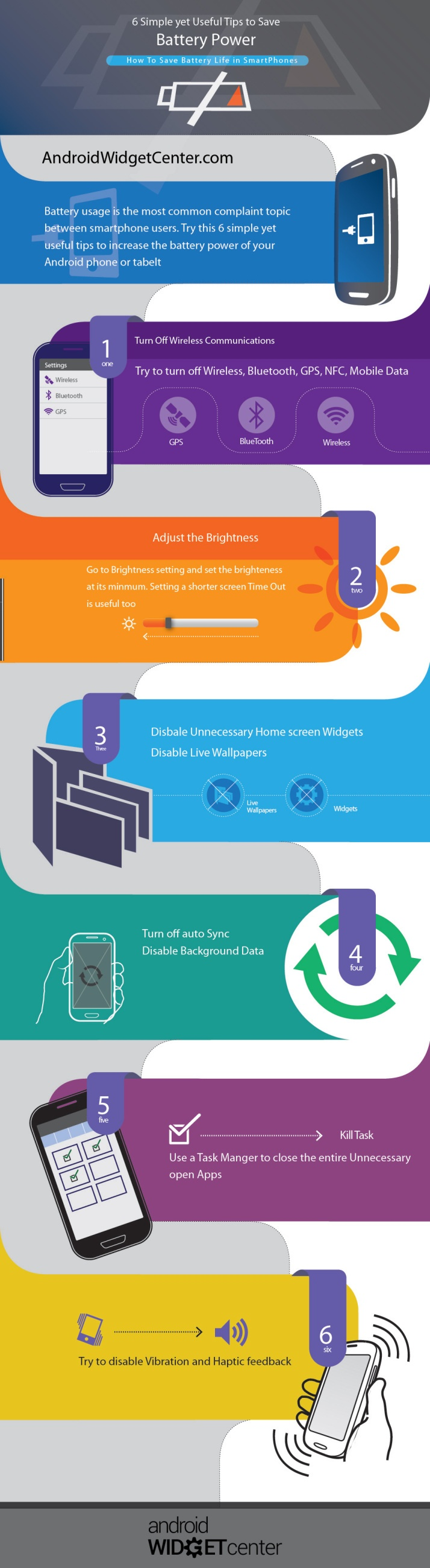 6 Simple yet useful tips to save Battery Power #infografia #infographic