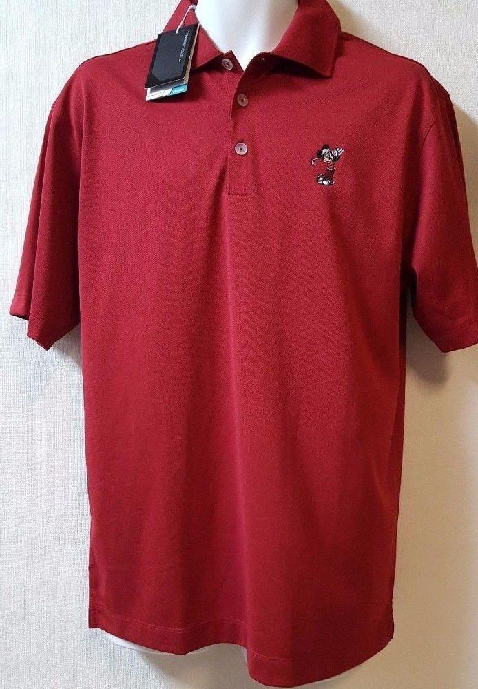 Disney Parks Nike Golf  Polo Shirt Size Medium Dark Red  Dri Fit  Mickey Mouse #Nike #Polo