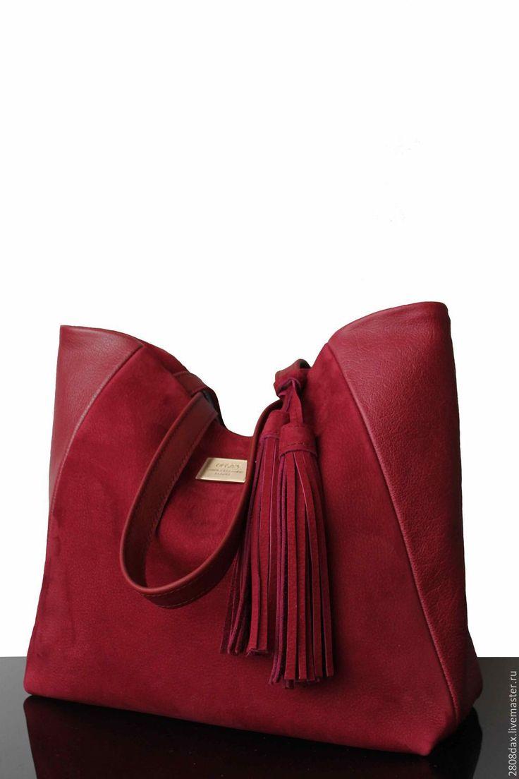 Купить Бордовая замшевая сумка, сумка из замши, сумка кожа и замша - сумка женская