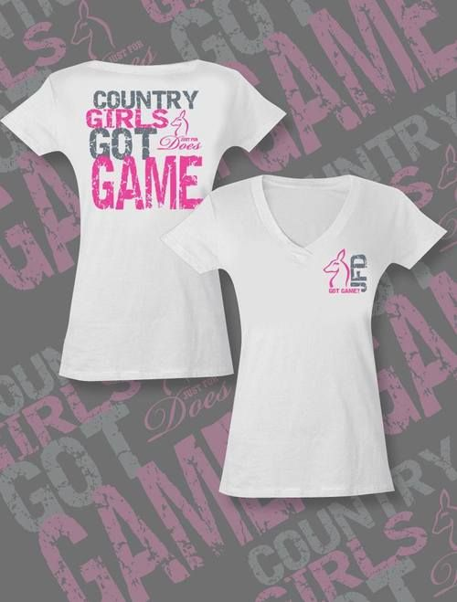 White Country Girls Got Game Tee