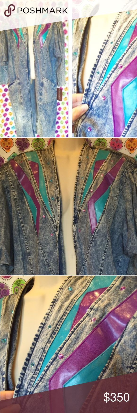 80s Vintage leather Denim jacket Jewel long duster Dolce & Gabbana all the way! Fall runway 2017 jean bedazzled glam✨⚡ New old stock 80s southwestern leather & Rhinestone trench acid washed Jacket. Massive pockets & abstract electric blue & purple leather on the front. Open front to accommodate many sizes. sz L. tags for love & lemons  wildfox widow gaultier one teaspoon goth Free people  Anthropologie  Jeffrey Campbell  Steampunk Witch Punk Betsey Johnson spell & gypsy collective UNIF Free…