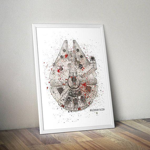 Star Wars Poster Print | Watercolour | Digital Download | Millennium Falcon | Wall Art | Videogame Art | Star Wars Vehicle | Minimalist