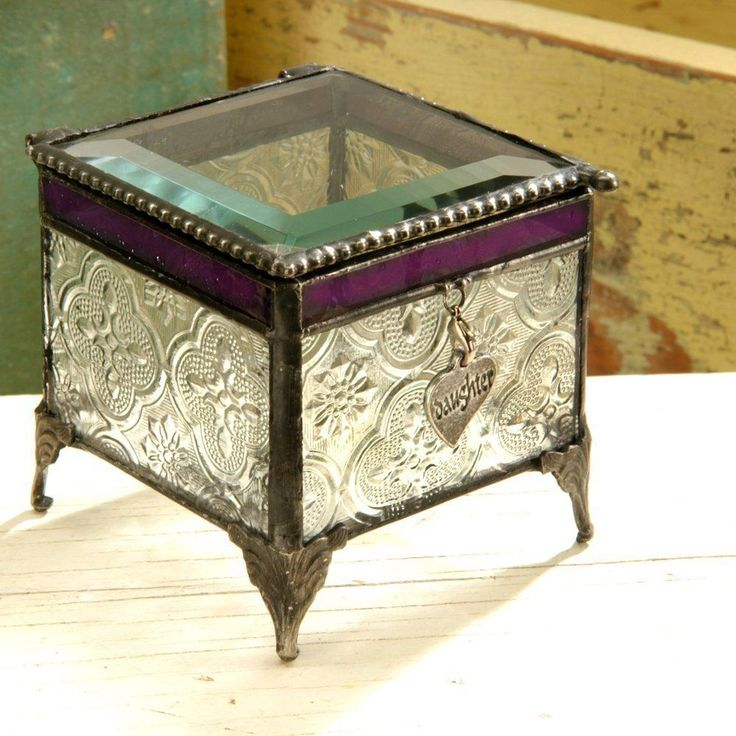 J Devlin GLASS ART Vintage & Plum With Any Charm Keepsake/Jewelry Box NIB