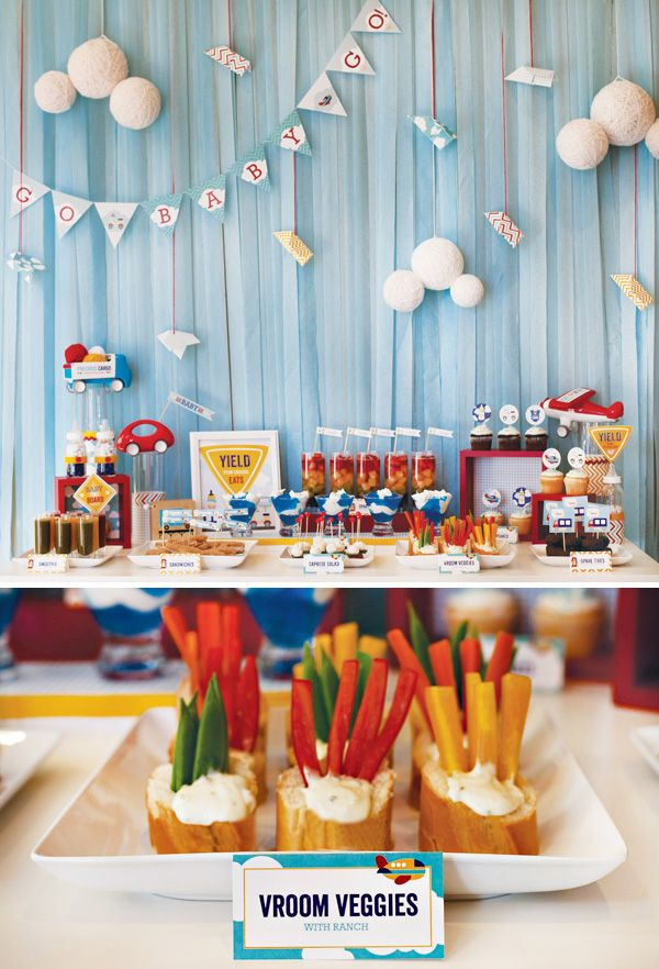 {Cars, Trucks & Airplanes} Transportation Inspired Baby Shower // Hostess with the ...