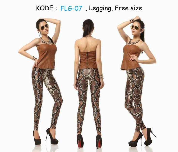 FLG7-90rb Jual legging motif kulit ular seksi fashion 2015