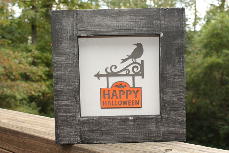 Happy Halloween Raven Decor by SassAndSawdust on Etsy https://www.etsy.com/listing/466092442/happy-halloween-raven-decor