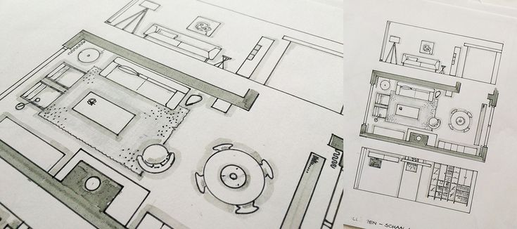 Hand getekende schetsen interieur advies