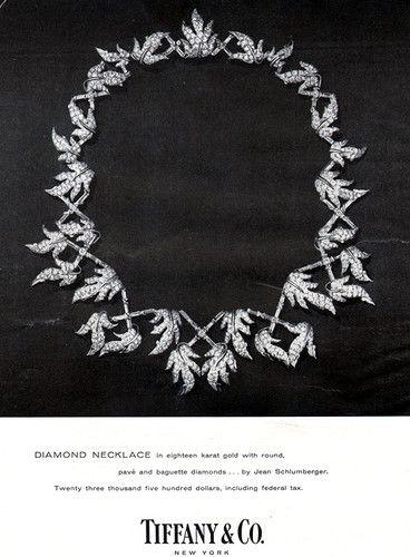 Tiffany Jean Schlumberger Diamond Necklace ELEGANT JEWELRY 1957 Magazine Ad