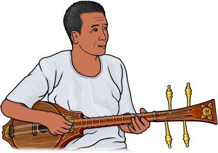 スンを弾く男性 / スンは、タイのリュート形弦楽器。/ 私家版楽器事典