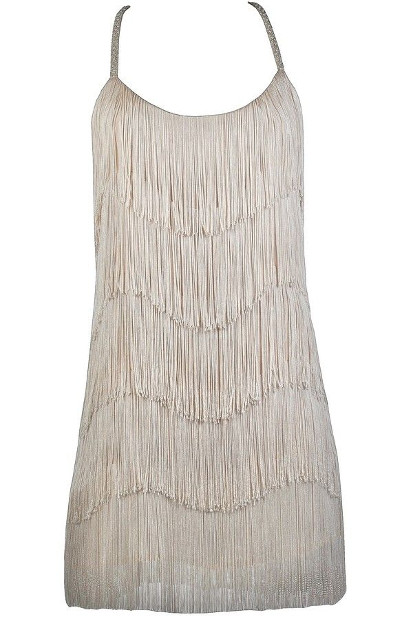 You'll be the envy of everyone at any Great Gatsby or Roaring 20s theme event you attend in this beautiful fringe party dress. The Great Gatsby Gorgeous Beige Fringe party Dress is fully lined and made of a beige fabric with tiered layers of fringe on it, giving it a look reminiscent of a 1920s flapper. This dress has a loose cut that makes it the perfect option to dance the night away in! The spaghetti straps of this drss continue around the back and are decorated with bead and pearl…