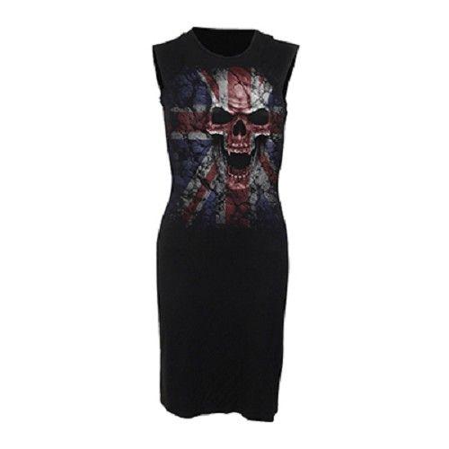 Union Wrath, gothic fantasy metal schedel jurk zwart - L - Spiral