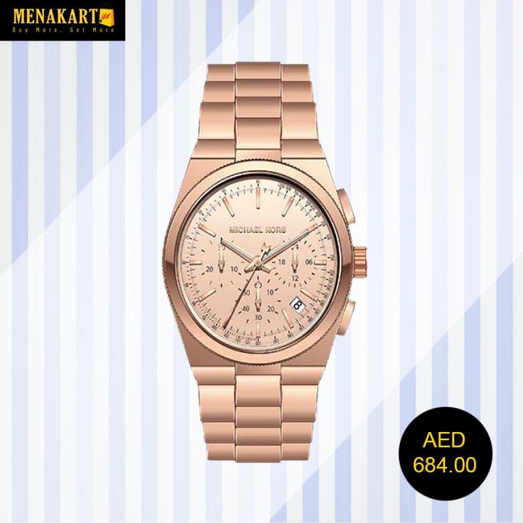 MICHAEL KORS Channing Chronograph Rose Dial Ladies Watch #Watches #WatchesForWomen #BrandedWatch #online #shopping